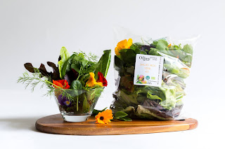 Bowl and bag of green salad with flowers