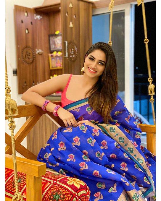 Shivani Narayanan Blue Saree