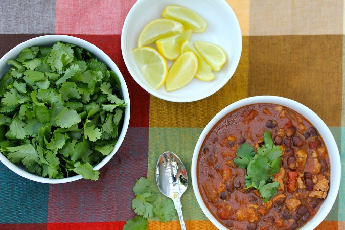 Turkey Chili made in the slow cooker with cilantro and limes