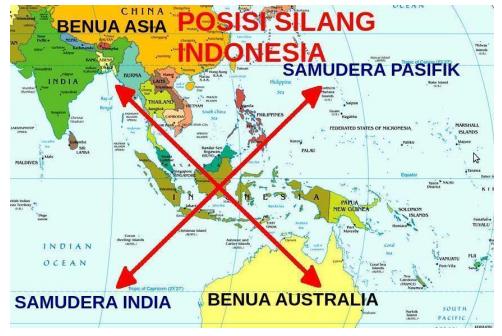 Letak Geografis Indonesia pada peta: