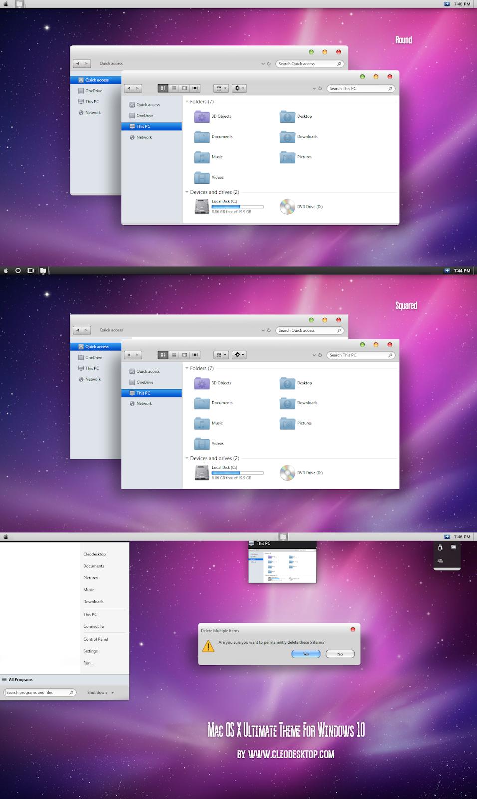 Mac OS X Ultimate Theme For Windows10 November 2019 Update 1909
