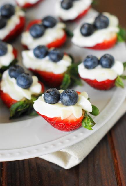 Red White & Blue Strawberry Cheesecake Bites image