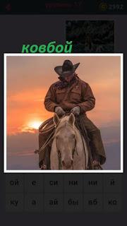 655 слов ковбой едет на лошади в шляпе и в чапах 17 уровень