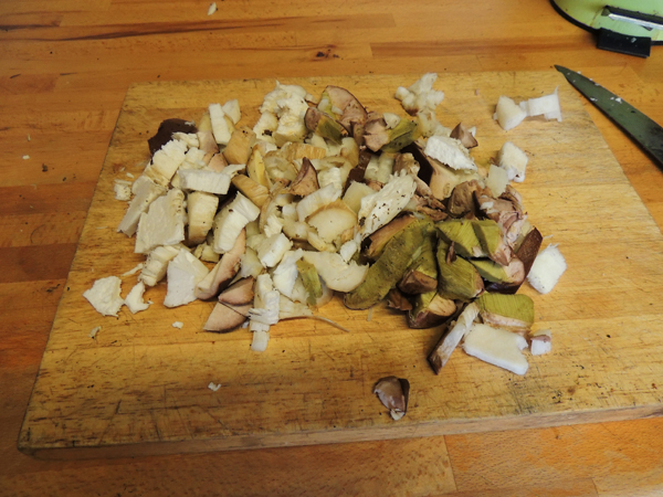 Picture of some chopped cep mushrooms