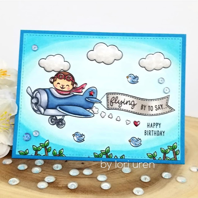Sunny Studio Stamps: Plane Awesome Customer Birthday Card by Lori Uren