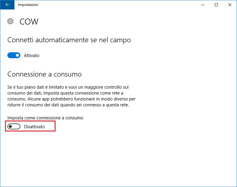 Windows 10: Imposta come connessione a consumo