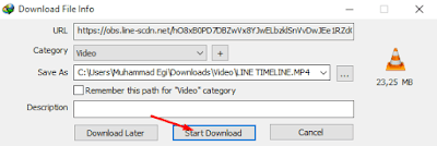 Cara Download Video yang Berada di Timeline Line