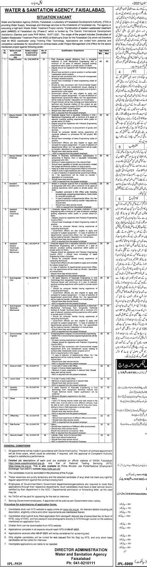 https://www.wasafaisalabad.gop.pk Jobs 2021 - Water & Sanitation Agency (WASA) 2021 in Pakistan