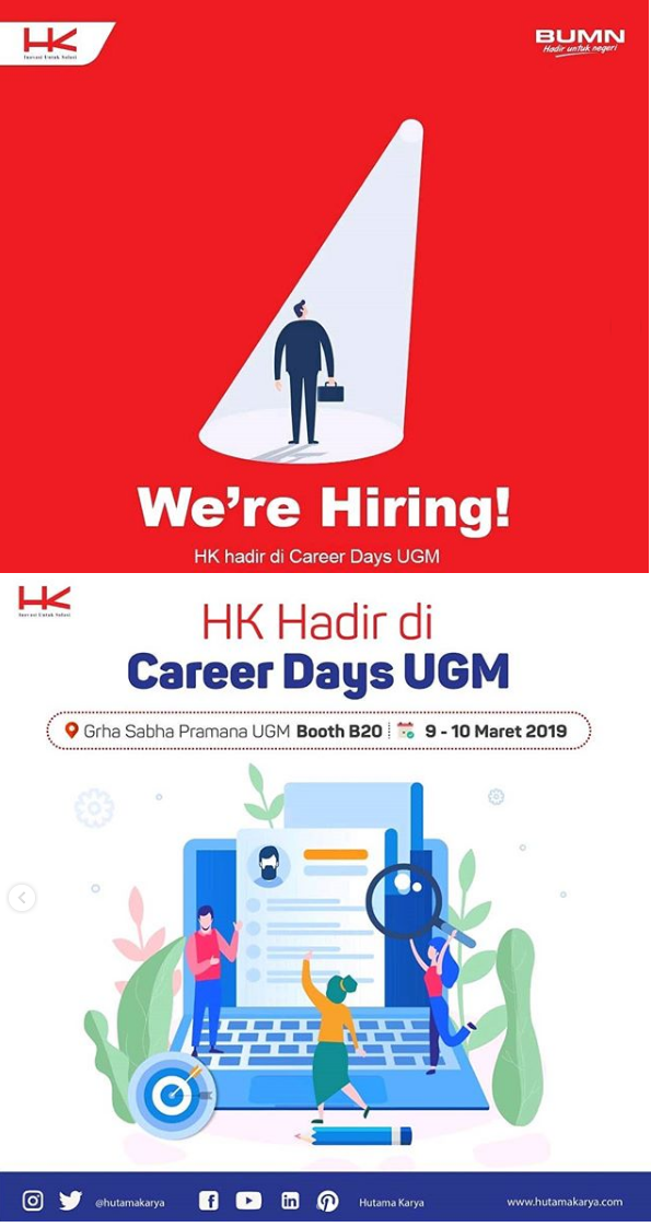 Rekrutmen PT Hutama Karya (Persero) Via booth Career Days UGM 9 - 10 Maret 2019