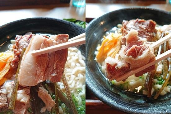 スタミナそばの三枚肉と軟骨ソーキの写真