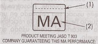 etique MA de la norma JASO para aceites