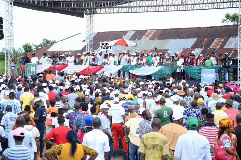 Photos: PDP Edo State guber candidate Ize-Iyamu campaigns in his LGA