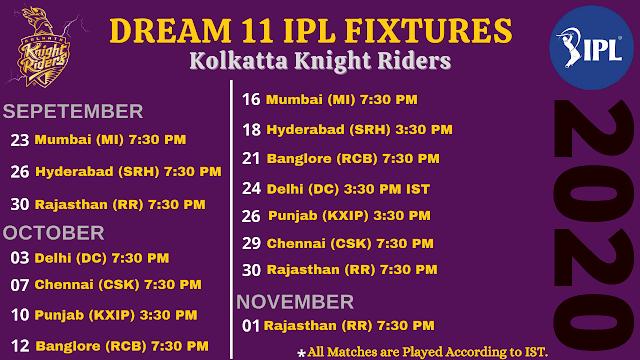 Kolkata Knight Riders Dream11 IPL 2020 Fixtures