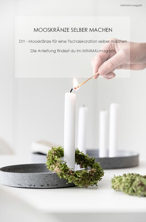 Mooskränze selber binden einfach gemacht. Eine Anleitung für die Deko aus Naturmaterialien findest du im MINIMALmagazin!