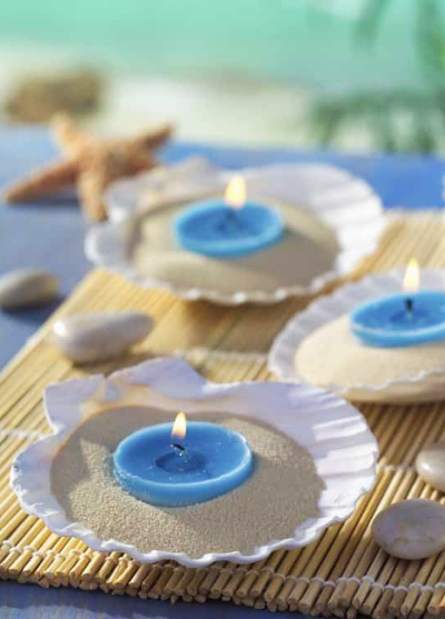 Beach Shell Tray Blue Votive Candle Holder Idea