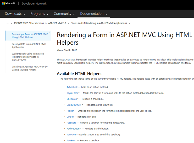 ASP NET C#: ASP NET MVC 4 Razor Html Helpers functions samples