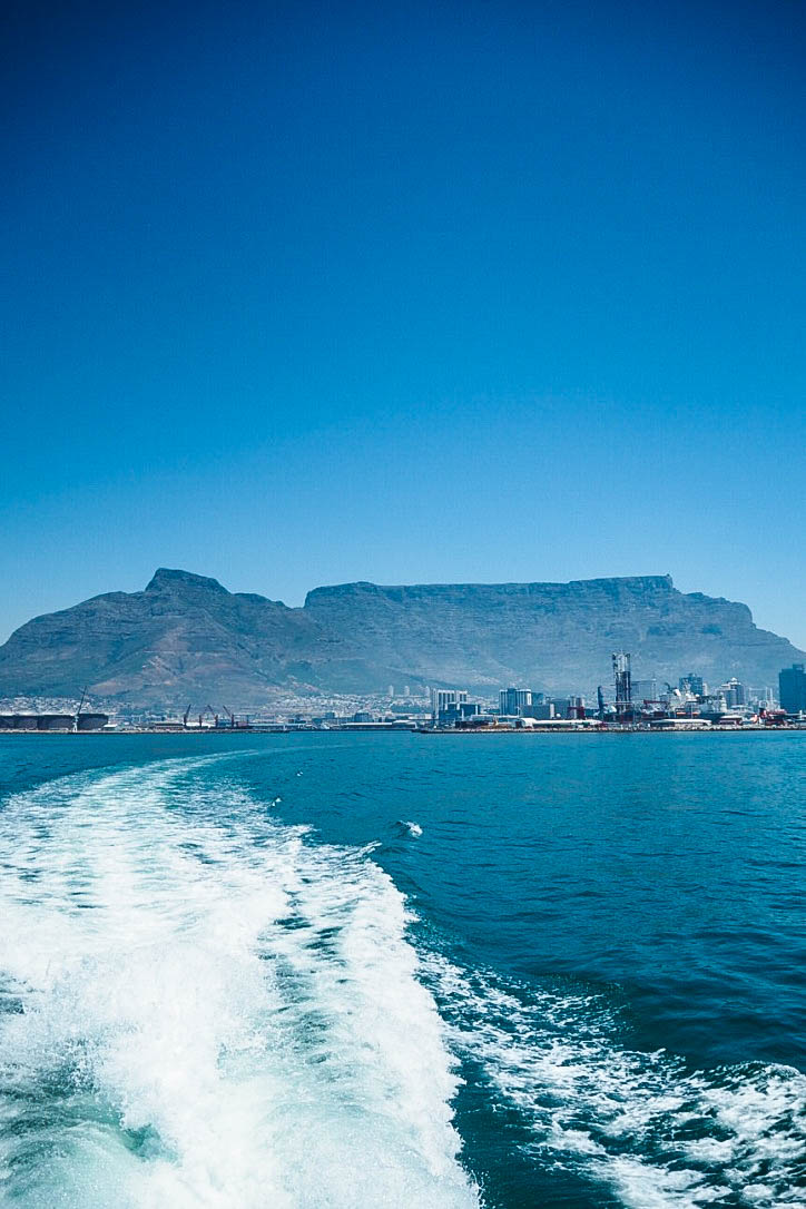 View of Table Mountain from boat over to Robben Island