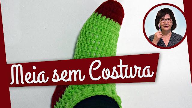 Edinir Croche ensina meia em crochê sem costura passo a passo para iniciantes