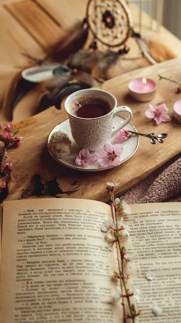 Screen background.  Cup, book, flowers, cocoa, drink, candles