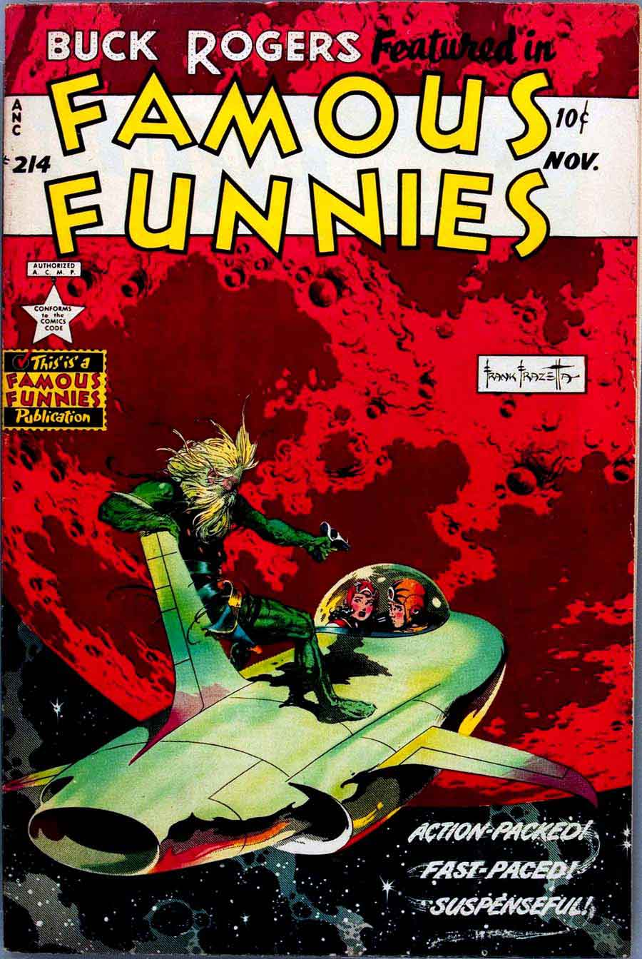 Frank Frazetta Buck Rogers 1950s golden age science fiction comic book cover / Famous Funnies #214