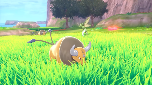 Pokémon Sword Shield wild Tauros eating grass Isle of Armor expansion pack