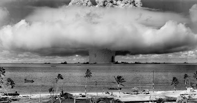 Explosion in the ocean in black and white.
