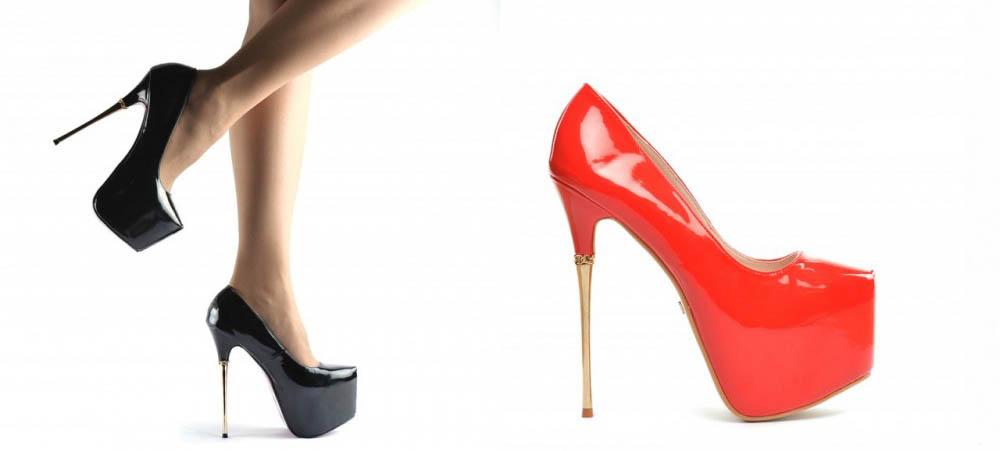 Pantofi lacuiti negri, rosii cu platforma si toc auriu eleganti ieftini
