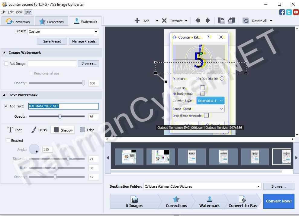 watermark text avs image converter