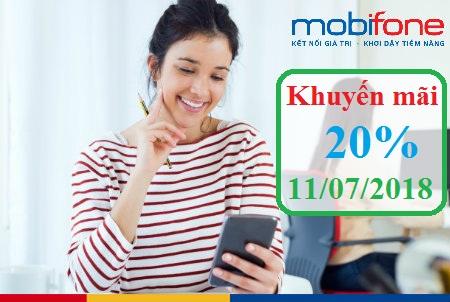 MobiFone khuyến mãi 20% giá trị thẻ nạp ngày 11/7/2018