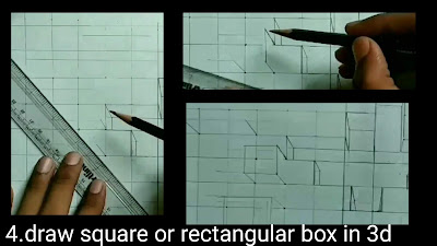 Here drawing square or rectangular boxes by using one point perspectives