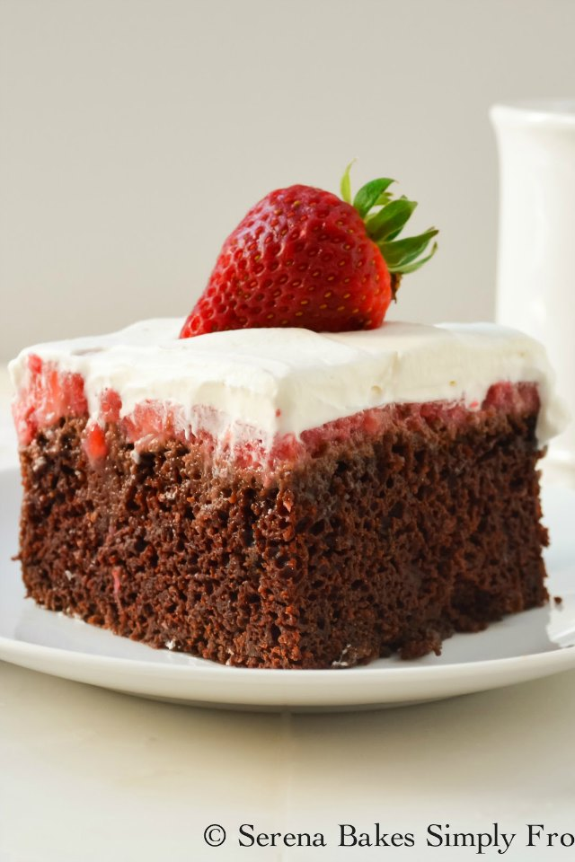Chocolate Strawberry Poke Cake Serena Bakes Simply From Scratch