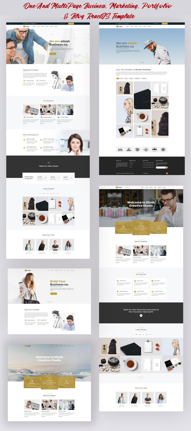 Elizah Business And Corporate React JS Responsive Website