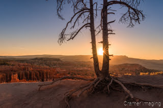 Cramer Imaging's fine art landscape photograph of the sun rising over Bryce Canyon National Park Utah on the summer solstice