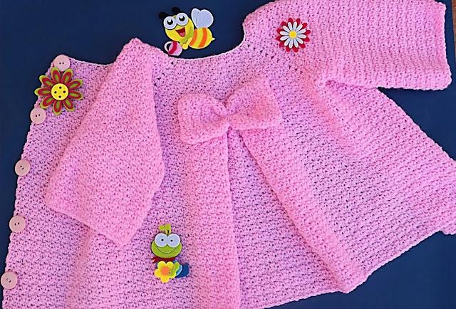 Hermoso Abrigo para niña a Crochet con Lazo Paso a Paso
