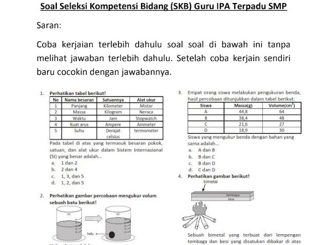 Materi Soal SKB Guru IPA SMP CPNS 2020 (Seleksi Kompetensi Bidang)