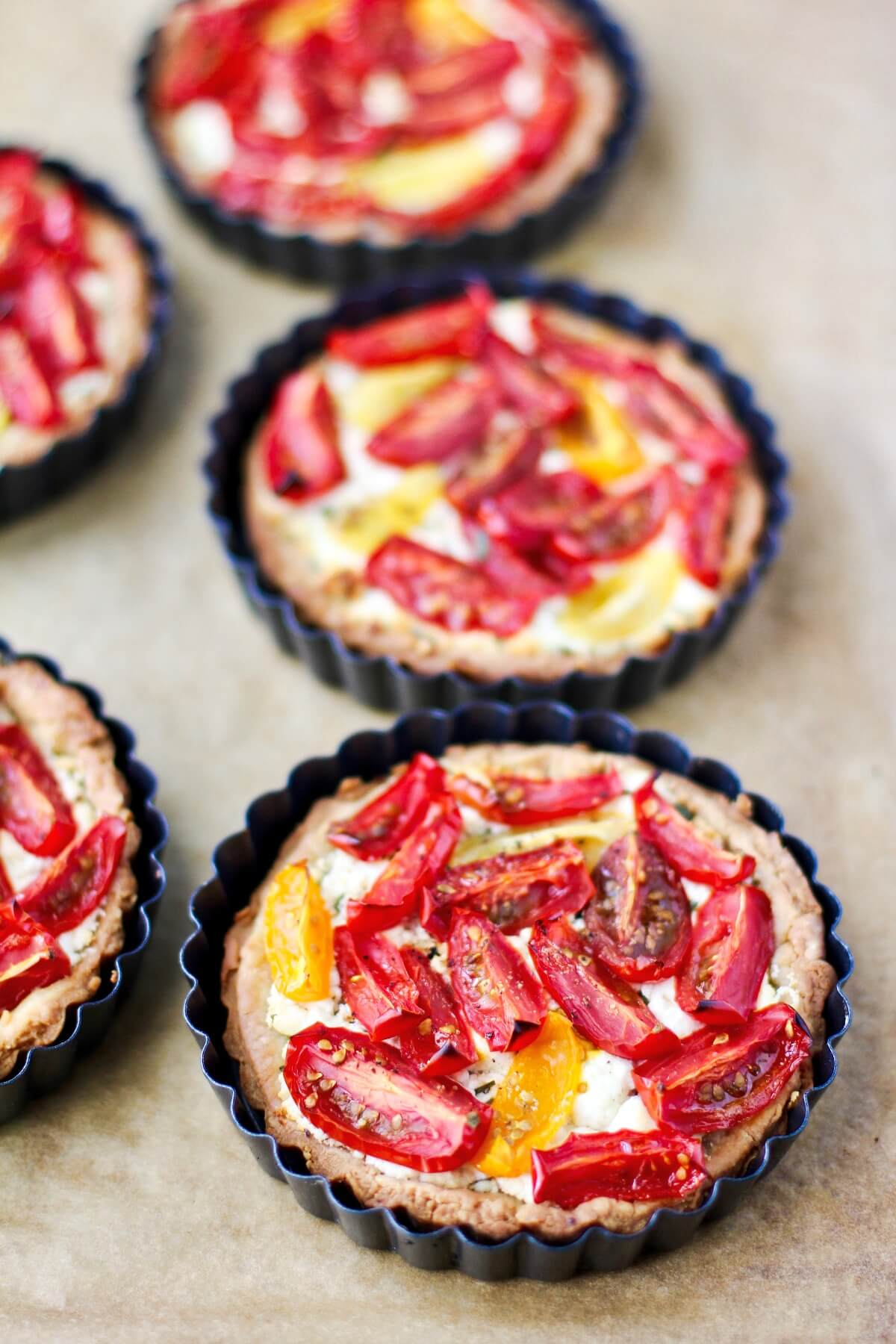 Tomato and Goat Cheese Tarts after baking.