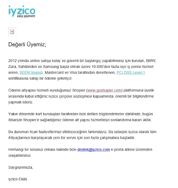 İyzico GoShoiper desteğini çekti