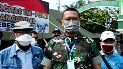 Dapur Umum Covid-19 Kodim Brebes Terima Bantuan Masker dan Sembako Relawan SBB