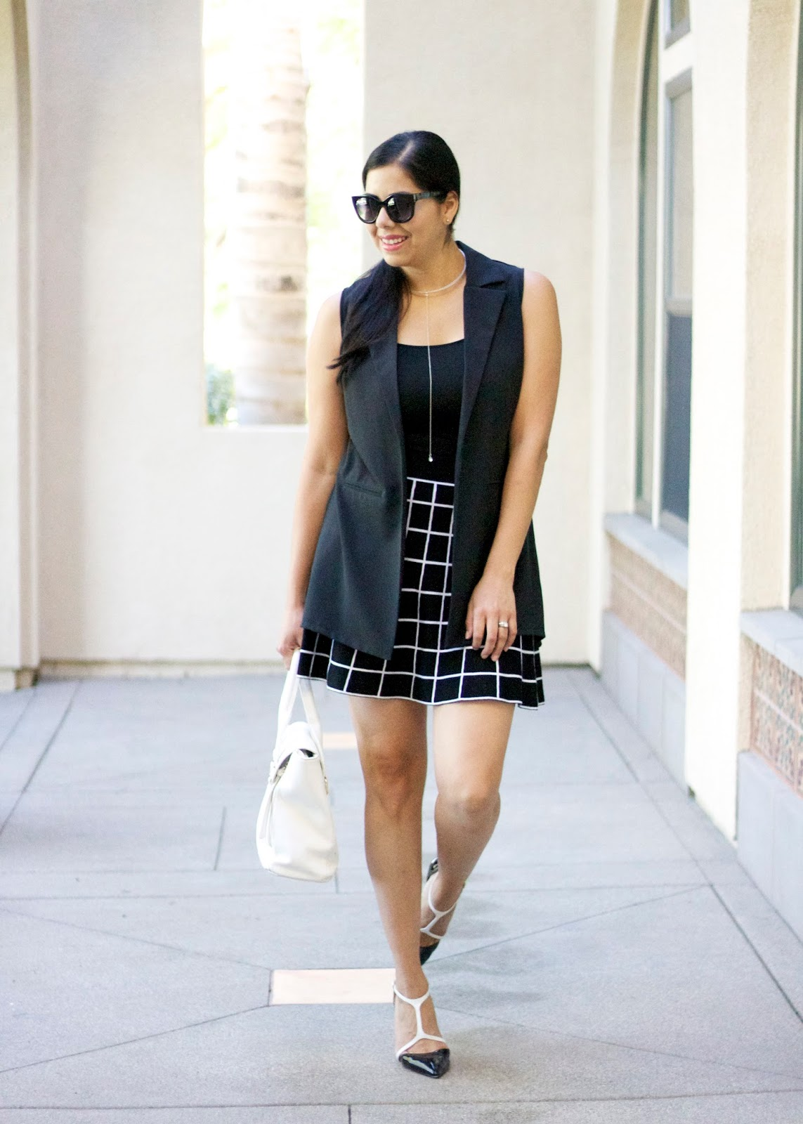 shoedazzle heels, shoedazzle blogger, black and white shoes, windowpane skirt, how to wear windowpane