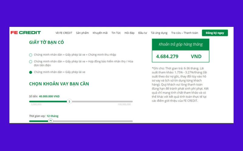 Lái suất cho vay mua xe trả góp của fe credit