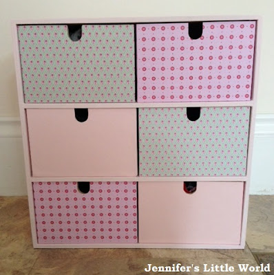 Upcycled Ikea wooden drawers with paint and patterned paper