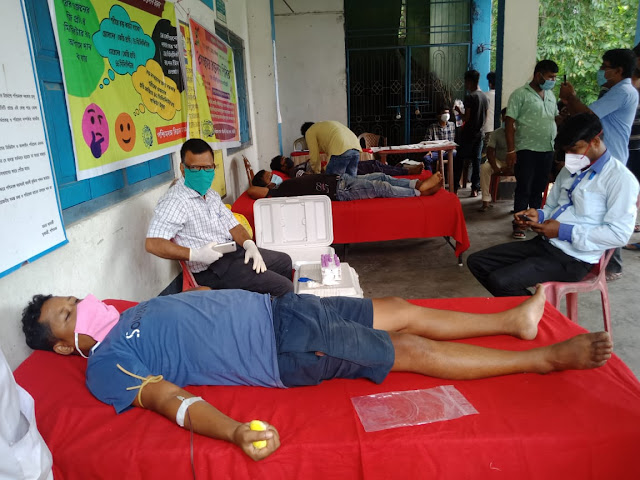 पश्चिम बंगाल विज्ञान मंच के तत्वाधान में खोरीबाड़ी विज्ञान केन्द्र के सहयोग से रक्तदान शिविर का आयोजन।