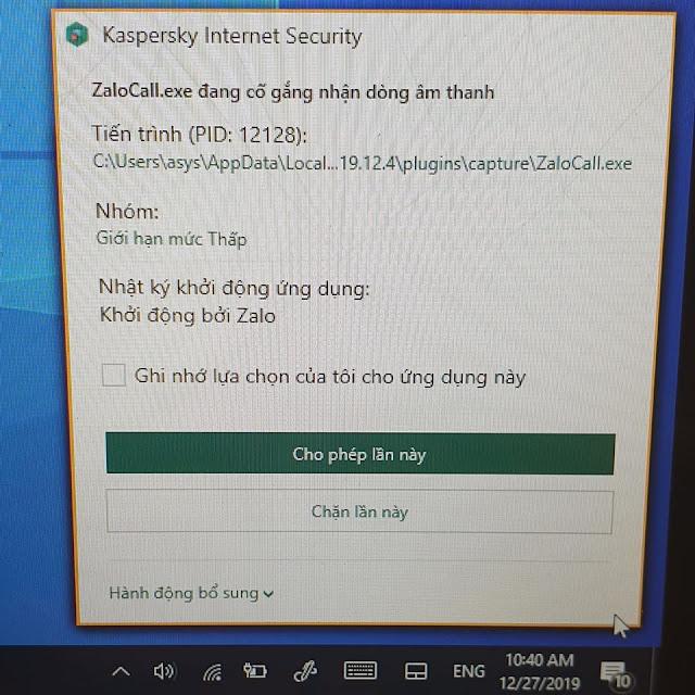 Kaspersky cảnh báo Zalo nghe lén trên Laptop