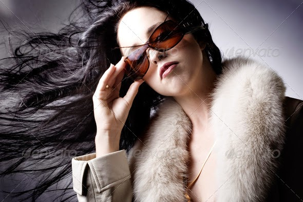 Fashion model with designer sunglasses