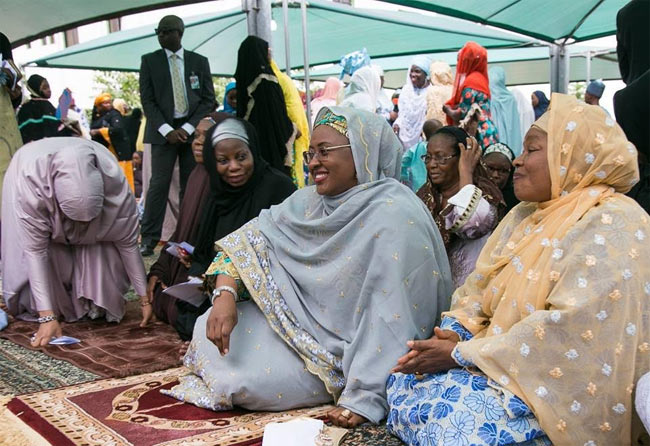 Aisha Buhari and wards observe Sallah prayers in Katsina