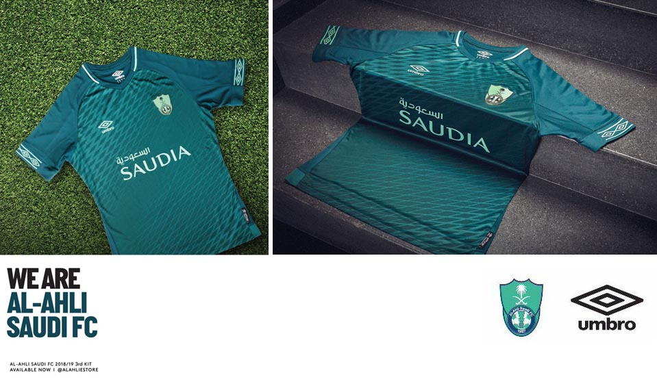 Al-Ahli club s third kit s main colouring is slightly hard to decipher. It  appears to be a dark turquoise or greenish-navy. ef6e988e7