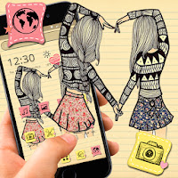 Cute Cartoon Girl Sketch Theme Apk free Download for Android