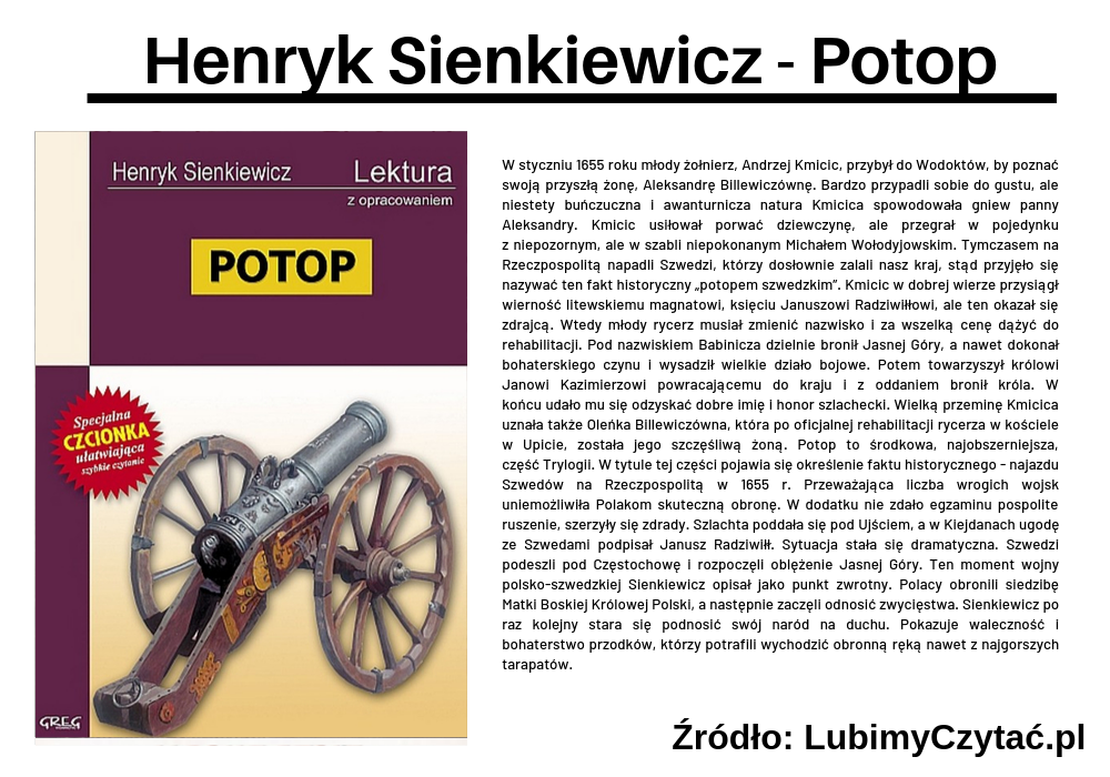 Henryk Sienkiewicz - Potop, Topki, Marzenie Literackie