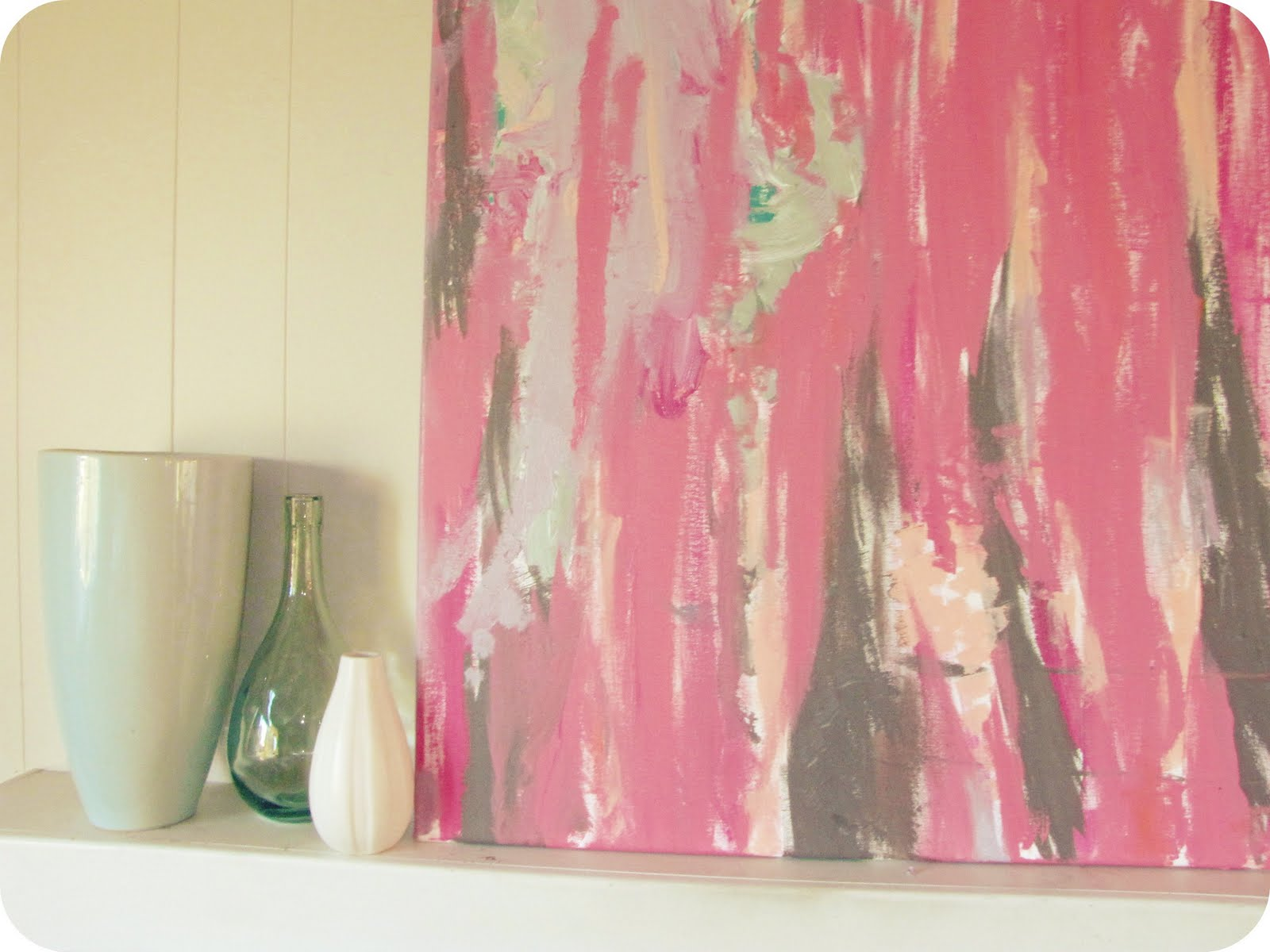 Pink Abstract Canvas Art: My House Of Giggles: A New Pink Abstract Painting For Our