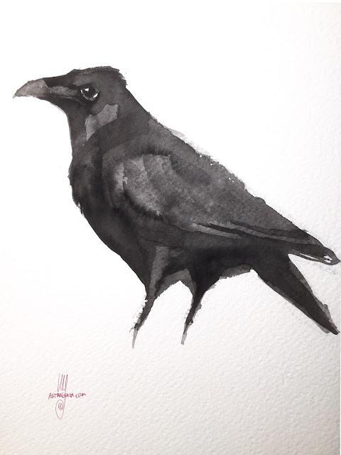 Watercolor Raven by Artmagenta